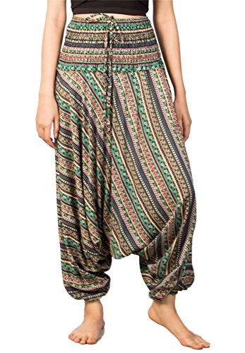 Lofbaz Pantaloni da Donna Smocked Waist Elefante Funky Pavone Harem Floreale Jumpsuit Waterdrops Verde
