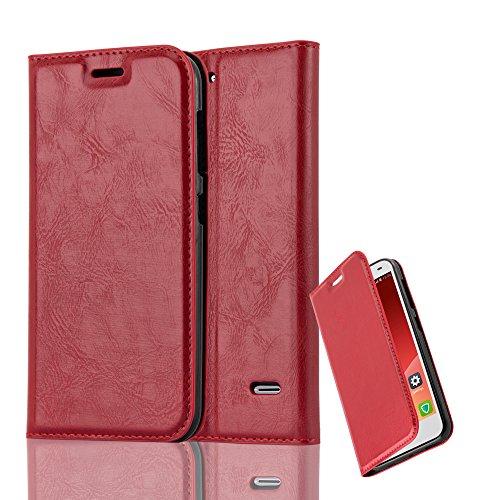 Cadorabo Hülle für ZTE Blade S6 - Hülle in Apfel ROT - Handyhülle mit Magnetverschluss, Standfunktion & Kartenfach - Case Cover Schutzhülle Etui Tasche Book Klapp Style