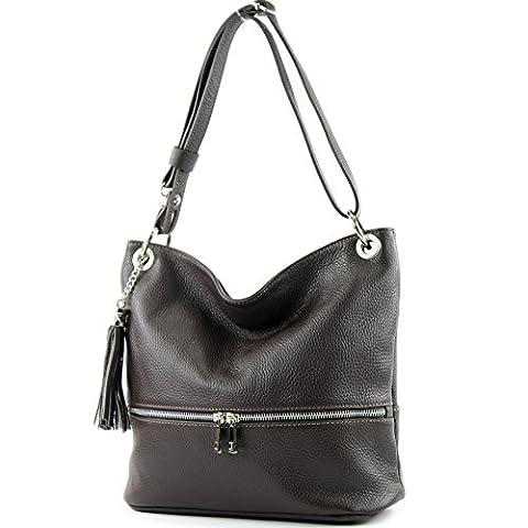modamoda de -. ital sac en cuir dames sac d'épaule épaule T143 sac en cuir, Präzise Farbe (nur Farbe):Dark Chocolate