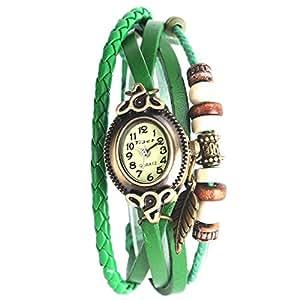 Yesurprise Montre quartz Vintage Avec pendentif Feuille Knitted Bracelet en cuir Vert foncé