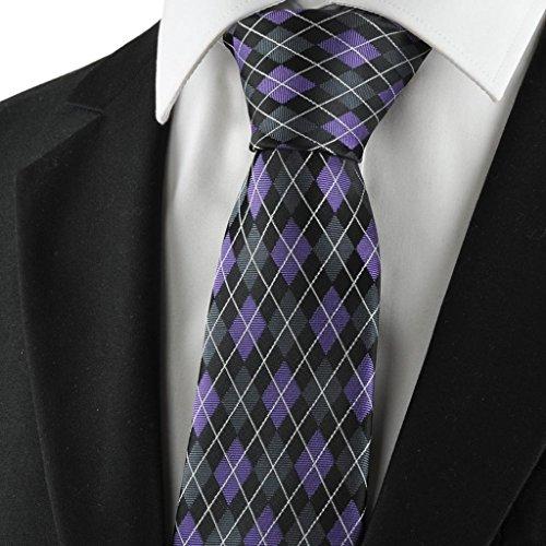 Diamant-Muster Lila Schwarz Mens Tie Formal Krawatte Hochzeit Souvenirs (Diamant-muster-krawatte)