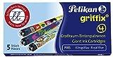 Pelikan P1R3 Griffix Refills Füllhalter Faltschachtel mit 5 Patronen, löschbar, blau