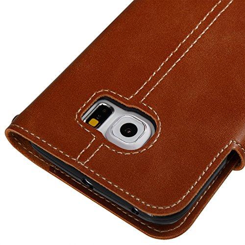 Hülle für Samsung Galaxy S6 Edge, Tasche für Samsung Galaxy S6 Edge, Case Cover für Samsung Galaxy S6 Edge, ISAKEN Farbig Blank Muster Folio PU Leder Flip Cover Brieftasche Geldbörse Wallet Case Leder Knopfe Linie Braun