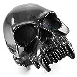 MunkiMix Grande Gran Pesado Fuerte Acero Inoxidable Anillo Ring Negro Cráneo Calavera Talla 25 Hombre