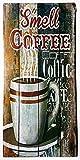 MI RINCON Cuadro de Madera Vintage Motivo Smell Coffee para Decorar la Pared del hogar, Tienda, Garaje, Bar,...