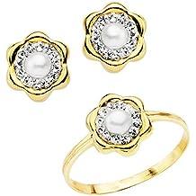60b1591b5b04 Conjunto juego niña oro amarillo 18 ktes 1ª Comunión anillo y pendientes  flor con perlas y