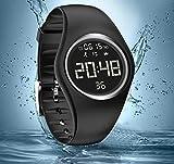Armbanduhr und Fitness-Armband, wasserdicht IP68, zum genauen Verfolgen von Schritten, Entfernungen und Kalorien, mit Timer-Funktion, zum Laufen, Rennen für Damen und Herren (ohne Bluetooth), Schwarz