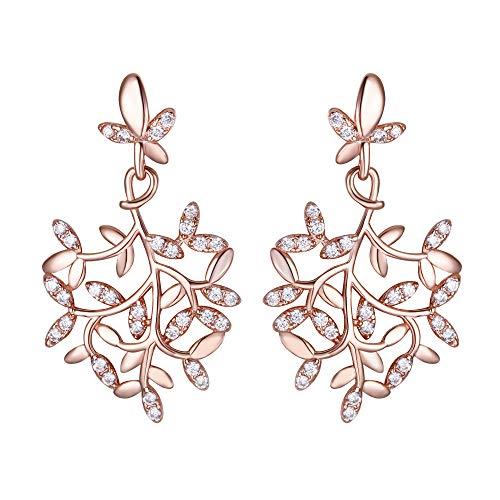 EVER FAITH Damen 925 Sterling Silber CZ Schmetterling Blatt Kronleuchter Tropfen Ohrringe Rose Gold-Tone