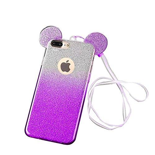 MOMDAD iPhone 7 Plus Coque iPhone 7 Plus TPU Silicone Coque iPhone 7 Plus Transparent Coque iPhone 7 Plus Souple Coque téléphone portable Case Cover Housse Etui pour iPhone 7 Plus 5.5 Pouces Coque de  Gradient-Purple