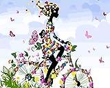 WXLZY Tela Pittura Digitale Ragazza in Bicicletta per Lovers Adulti Bambini dipingere per Numero Kit Decorazioni per la casa Regalo 16x20 Pollice