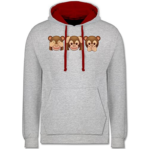 Comic Shirts - Äffchen Emoji - Kontrast Hoodie Grau Meliert/Rot