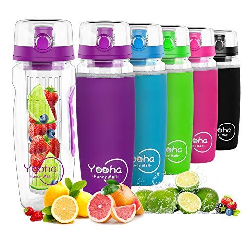 YOOHA trinkflasche mit früchtebehälter 1L, auslaufsicher, Klappdeckel, Doppelgriff, BPA-freie Infusionssportflasche, mit einem nützlichen Fruchtschneider. (Flasche, Lila)