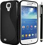 BAAS® Samsung Galaxy S4 Mini i9190 - Noir S-Ligne Coque en gel silicone + Stylet + 3x Film de Protection d'Ecran