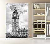 selbstklebende Fototapete - Big Ben London UK - schwarz weiß - 100x150 cm - Tapete mit Kleber – Wandtapete – Poster – Dekoration – Wandbild – Wandposter – Wand – Fotofolie – Bild – Wandbilder - Wanddeko