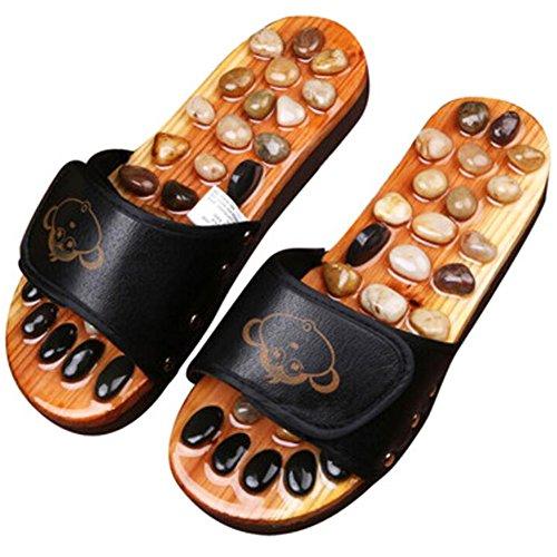 Antigleiter Massage Cobble Décor Holzpantoletten Schuhe Flache Pumps - Schwarz