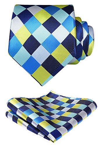 Hisdern Check Tie Taschentuch Jacquard gewebte Krawatte Einstecktuch Herren-Accessoires Check-krawatte Tie