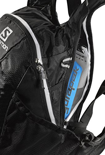 Salomon, Leichter Trail-Running Rucksack 12 L, 45 x 22,5 x 13,5 cm, AGILE 12 SET, Schwarz (Black/Iron/White), L37375100