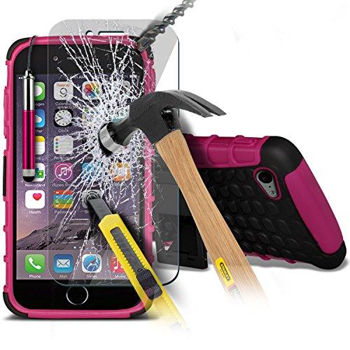 Aventus ( Orange ) Apple iPhone 6S Case Protective Elegant Dura prova Survivor duro Rugged Shock Heavy Duty Case W / basamento della parte posteriore, vetro Temperato schermo LCD proteggi, Panno e Min Shock Proof + Tempered ( Hot Pink )