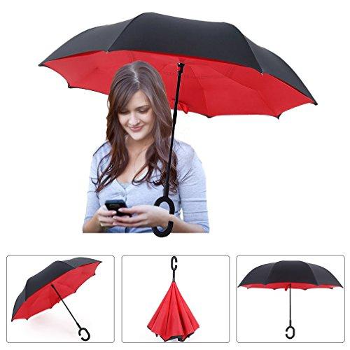 Paraguas plegable multifunción, Innovador C Forma Manos Paraguas Doble Capa a Prueba de Viento Paraguas Hombre Mujer Uso de Los Viajes y el Coche
