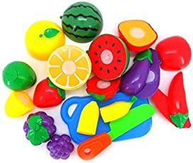 FunBlast Realistic Sliceable Fruits Cutting Play Toy for Kids (Set of 15 Pcs PolyBag)