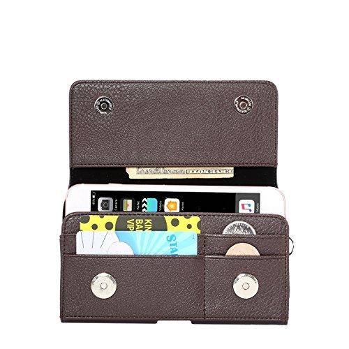Premium PU Leder Quertasche Holster Gürtelclip Tasche für Samsung Galaxy Note 8/Galaxy S8Active/Motorola Moto G5S/E4Plus/LU Studio J8/Grand XL/Blu Vivo 8/Alcatel Idol 5S, Braun
