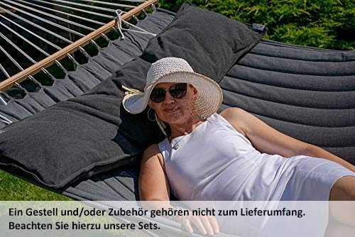 Lola Luxus Stab Hängematte gefüttert American Hammock Lifestyle, Noire mit Kissen Wetterfest
