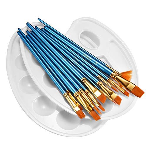 ATMOKO 12 Künstlerpinsel, 2 Mischpalette, Premium Nylon Pinsel für Aquarell, Acryl & Ölgemälde usw. Perfektes Pinsel Set für Anfänger, Kinder, Künstler und Gemälde Liebhaber