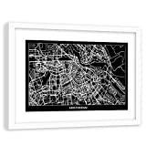 Feeby Cuadro con Marco Blanco Amsterdam Pintura Arte Mapa de la Ciudad Negro 90x60 cm