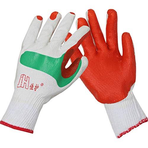 Film-Handschuh-Gebäude-Schweißens-Schutz, haltbar, Anti-Ausschnitt, rutschfest, eingetauchter Gummi, Baumwolle, kurz (12 Paare) (Ping Film)