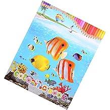 YeahiBaby Libro de Colorear de Peces Tropicales para Niños Jugute Educativo Reglo