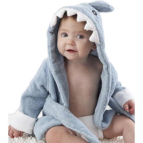 Para bebés de algodón para MIXMAX de cremallera con capucha para de luz de color azul multiculor de tiburón y peces de doble mando para baño cocina con diseño de rizo con diseño de vestido con escena de albornoces