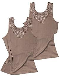 362cbbaafc1a58 VCA 2er Pack Damen Tops mit großer Spitze, Unterhemd aus Baumwolle,  Trägerhemd - Cottonprime