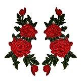 CAOLATOR Applikation Patches Blumen Rot Aufnäher zum Aufbügeln Spitzenborte Flicken Patch Spitze Aufbügler Bügelbild Aufnäher, EIN Paar