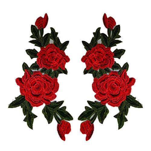Cdet Rose Aufbuegler DIY Blume Stickerei Applikation Cheongsam Patches für Deko Tasche T-Shirt Jeans Hut Kleidung Nähen Stoff Patches (1 Paar)