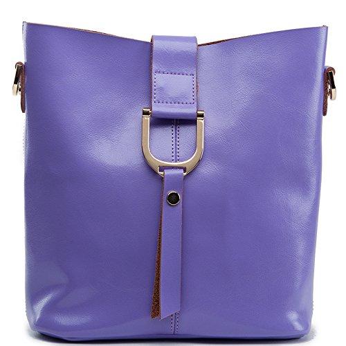 Mefly Il Nuovo Stile Coreano Croce Obliqua In Pelle Panino Farcito Madre Borsa Grande Viola Small purple