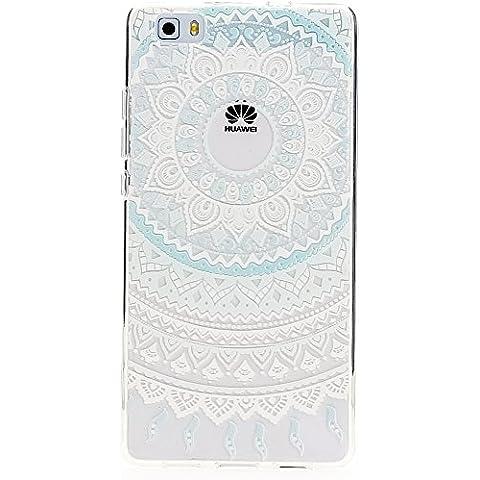 delightable24 Cover Case in Silicone TPU per Smartphone HUAWEI P8 LITE - Mandala Blu Turchese - Pietra Preziosa Del Turchese Giallo