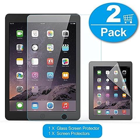 iPad Air 1/2 Protector de Pantalla Cristal, TechRise 2-Pack Alta Definición Templado Protector de Pantalla Defensa Membrana para ipad Air 1, 2 e iPad Pro 9.7 con 9H Dureza y Fácil de Instalar Libre de Burbujas