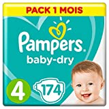 Pampers - Baby Dry - Couches Taille 4 (9-14 kg) - Pack 1 mois (x174 couches)