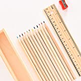 Prime Wooden Colour Pencil Case With Scale And Sharpener Kit, 65 Gram, Natural Blonde,15 Pcs, Pack Of 1 (10775)