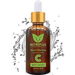 Serum Facial Vitamina C y Acido Hialuronico + Vitamina E | Anti Edad, Anti Arrugas, Anti Manchas | Suero Hidratante, No graso, Tonifica y Reafirma | Natural para una Piel Sana y Joven
