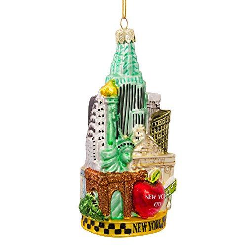 Kurt S. Adler Dekoration mit Stadtansicht von New York, Glas, Mehrfarbig, 13,97 cm -