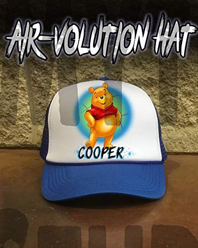 Mythic Airbrush Personalisierte Airbrush Pooh Snapback Trucker-Mütze Eine Grösse passt allen Schwarzer Hut