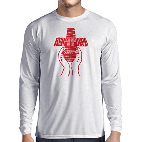 Langarm Herren t shirts Jesus rettete mein Leben - religiöser Glaube christliche Kleidung Weiß Mehrfarben
