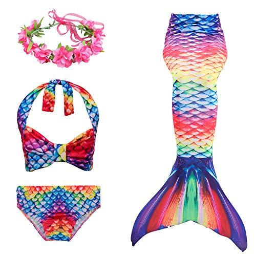 Cola de Sirena Niña 3 Piezas Mermaid Bikini Traje de baño Tankini Set con Diadema de Flores