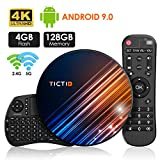 Android 9.0 Android TV Box 【4 Go + 128 Go】 TV Android Box + Clavier Touchpad, BT 4.0 USB 3.0 Quad-Core RK3318 64 Bits, WiFi Double 2,4 G / 5 GHz, LAN 100M, 4K TV Box