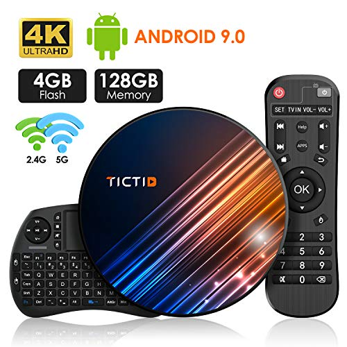 Android 9.0 TV Box 【4G+128G】con Mini Teclado inalámbirco RK3318 Quad-Core 64bit Android...