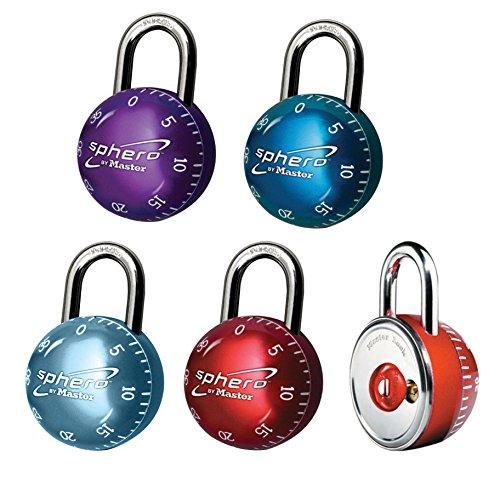 Master Lock 2076EURDAST Lucchetto, Sphero, Combinazione Fissa a 3 Numeri o Apertura a Chiave, Rosso/Blu Scuro/Azzurro/Viola, Diametro 50 mm