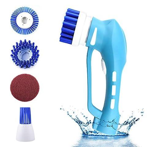 Elektrische Reinigungsbürste Handheld Turbo Power Spin Scrubber mit 4 Bürstenköpfe IP7 Wasserdicht Batteriebetriebene Reinigung für Boden Küche Bad Ecke