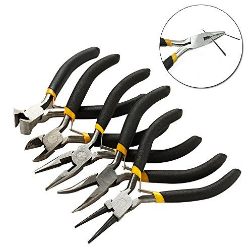 5pcs Mini Pliers Tools Set Jewellery Making Beading Kit Wire Cutter Round Bent Flat Nose