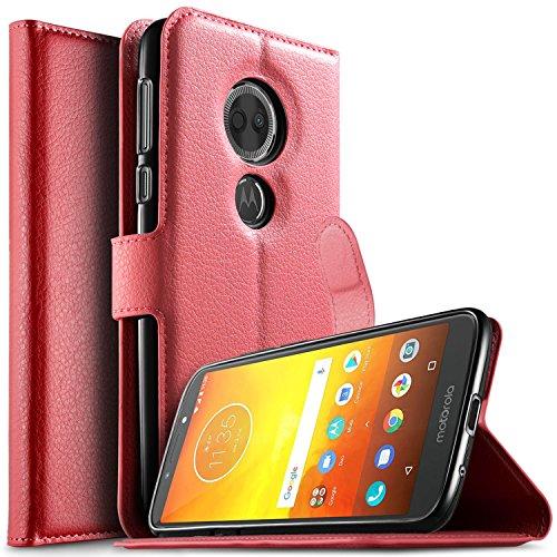 KuGi Motorola Moto E5 Plus Hülle, Moto E5 Plus Wallet Case, Brieftasche Case Hülle PU Kunstleder Flip Case mit Standfunktion Kartenfächer und Bargeld für Moto E5 Plus Smartphone.Rot